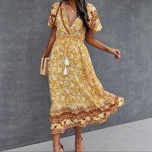 Boho gypsy butterfly sleeve tassel dress